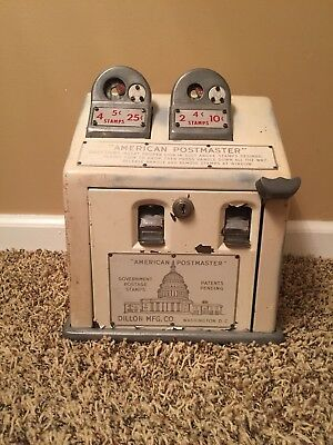Vtg American Postmaster Postage Stamp Vending Machine Coin Operated  Dillon Mfg