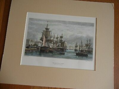 Antique 19th Century English Landscape Print/ Engraving / Hand Colored