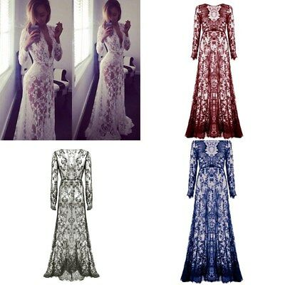 AU Women Sexy Lace Floral Boho Long Maxi Dress Party Wedding Ball Gown Costume