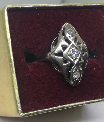 Antique 1920s Art Deco 14k White Gold 3 Diamond Shield Ring Size 4.5