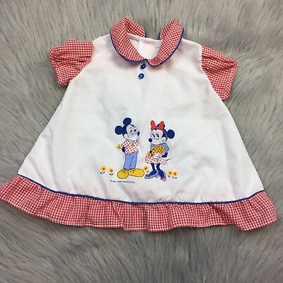 Rare Vintage Baby Girls White Red Gingham Disney Mickey Minnie Mouse Top