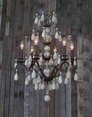 NEW Vintage STYLE Wood Beaded & Metal French Chandelier Light