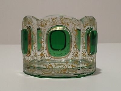 Vintage Moser Bohemian Czech Art Glass Emerald Green Cut To Clear Salt Cellar