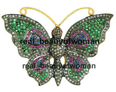 Victorian Vintage 2.63cts Rose Cut Diamond Stone Silver Butterfly Brooch Pendant