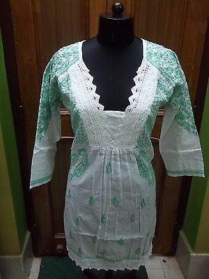 Blouse L Ethnic Top Kurta Kurti Tunic 100% Cotton Handmade Chikan Embroidery