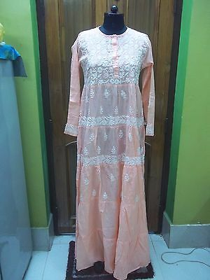 "M 40"" Maxi 100% Cotton Top Handmade Chikan Embroidery Ethnic Blouse Kurta Kurti"