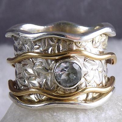 2-SPIN WAVE Embossed Spinner Size US 6.25 SILVERSARI Ring 925 Silver BLUE TOPAZ