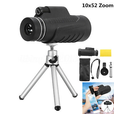 10X52 Zoom HD Optical Monocular Telescope Travel + Tripod + Phone Camera Clip
