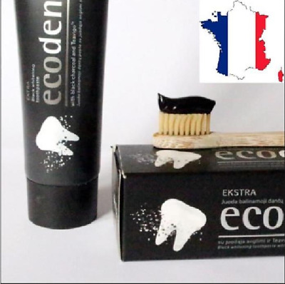 DENTIFRICE NOIR CHARBON DE BOIS ecodenta MADE EUROPE QUALITE PRIX  93% naturel !
