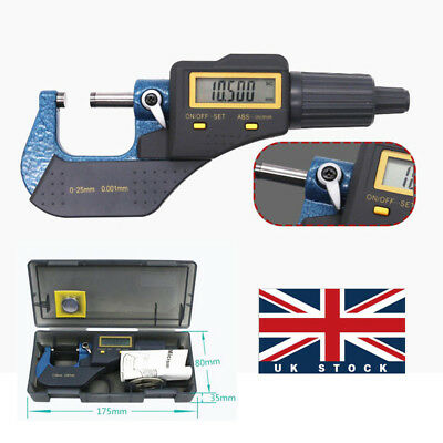 "0-25mm Electronic Micrometer Digital Outside 0-1""/0.00005"" LCD w Box UK Stock"