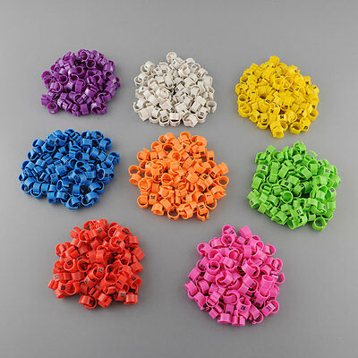 New 100Pcs Set Poultry Leg Pigeon Parrot Chicks Orange Rings Clip 1-100 Numbered