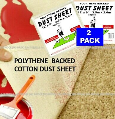 2 x LAMINATED TWILL PAINTERS COTTON DUST SHEETS PLASTIC BACKED 12ft x 9ft