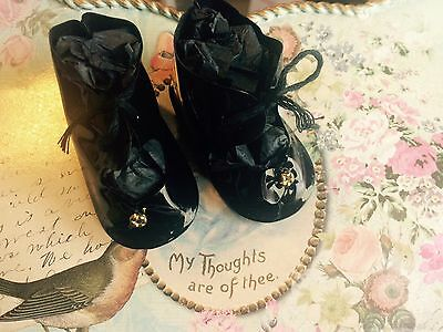 """ANTIQUE STYLE Black Patent LEATHER 1 3/4"""" BEBE French German DOLL SHOES"""