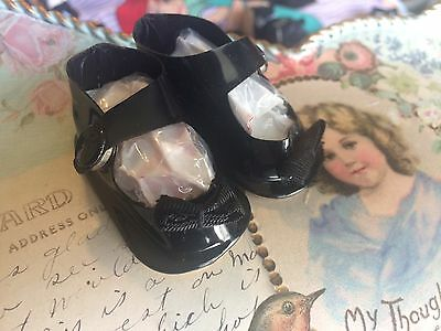 """ANTIQUE STYLE Black Patent LEATHER 2 1/4"""" BEBE French German DOLL SHOES"""