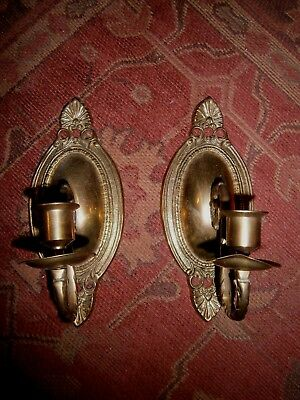 "PAIR (2) VINTAGE/Antique BRASS WALL SCONCES Candle holders~9"" tall & 3.75"" wide"