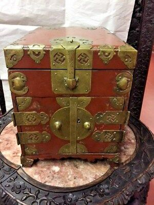 Asian Antiques, Ink Block/Jewelry Box, Lacquer, Red w/bronze, 1800-1850, China