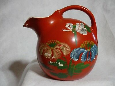 Vintage Ceramic Pottery Red Tilt Ball Pitcher Ice Lip Hand Painted Flowers