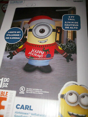 Despicable Me Carl Minion Inflatable Christmas Lighted Airblown 9ft Tall