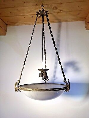 Antique French Gilded Bronze Chandelier Pendant Light