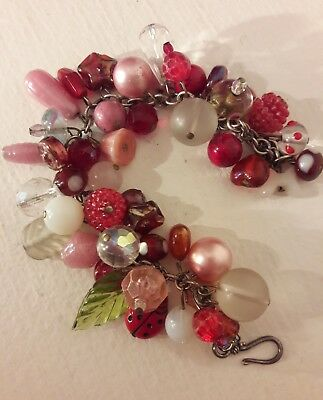 Vintage Glass Charm Bracelet Pink Antique Garden ladybug flowers leaves