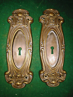 PAIR of BRASS YALE & TOWNE POCKET DOOR PLATES - VICTORIAN CIRCA 1890 (1016)