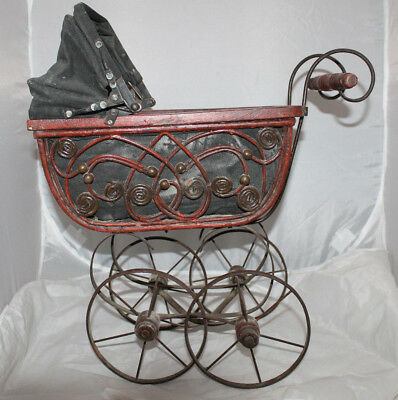 Victorian Style Vintage Doll Carriage Pram Buggy Wood Metal Cloth Toy Child Prop