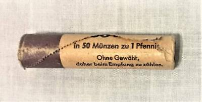 Germany; 1967-D Munich Bank Roll Of 50 One Pfenning Coins