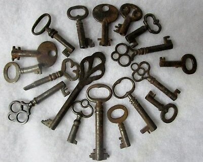 "Lot of 18 Antique-Original-Cast Iron Keys-Up to 3"" All Different-Some w/ Names"