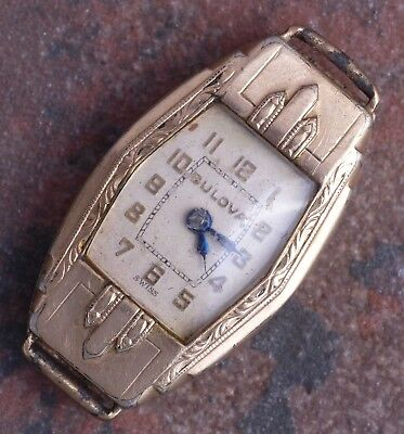 Bulova 30s Vintage Doric Art Deco Engraved Hinged YGP Case 7j 6AB Parts/Restore