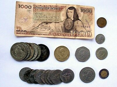 Lot Of 23 Mexico Coins & 1 - 1000 Pesos Banknote