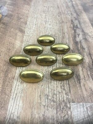 Lot Of 8 Vintage Brass Door Handles Drawer Pulls Cabinet Gold Knobs Oval N08264