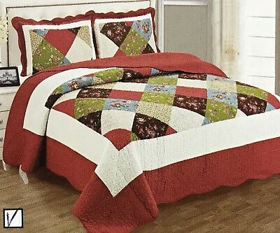 "100/% Cotton Quilt Bedspread King Size 3Pcs Set Reversible Organic 90""X100"" 6lbs"