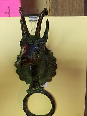 Vintage Antique Style  Solid Brass Ram Door Knocker