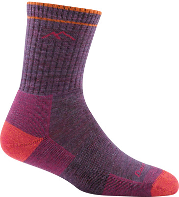 Darn Tough Women's Solid Micro Crew Cushion Socks, Plum Heather, M
