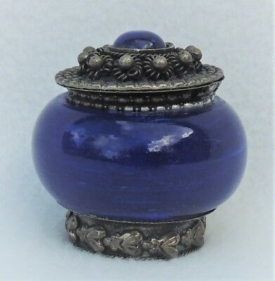 Vintage Small Cobalt Blue Glass & Silver Embossed Lidded Hinged Powder Jar #3685