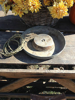 Antique Metal Water Tray Warming Dish~Repurpose Steampunk Industrial Art Decor