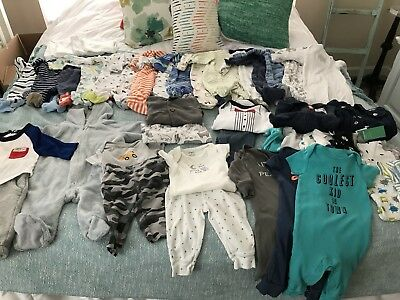 Huge Lot of 40 Baby Boy 3 Month Winter Spring Clothes PJs Sleepers Pants