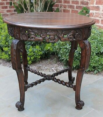 Antique French Oak BARLEY TWIST Carved ROUND Center Parlor End Table Cherubs