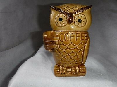 """Vintage Owl Ceramic Pottery Coffee Container Holder for a Spoon Figural 6"""" Tall"""