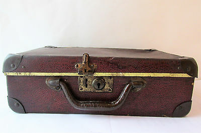 Antique Vintage Genuine  Beautiful Small Old Brown Suitcase