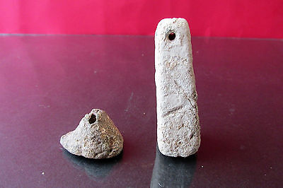 Ancient  Roman Ceramic Clay Loom Weight  2 pieces