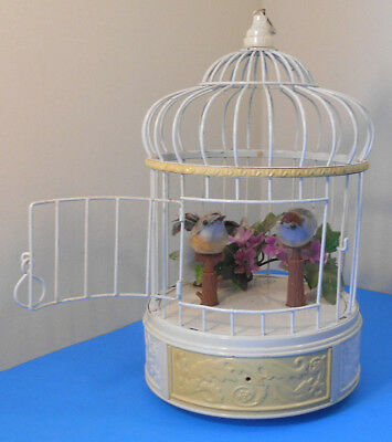 Vintage Bird Cage Automaton Music Box-Two chirping & moving birds-works well