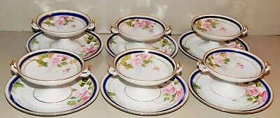 Set Of Six (6) Hand Painted Nippon Footed Sherberts & Underplates, Blue Mark