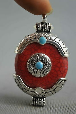 Collectable Handwork Decor Miao Silver Carve Flower Inlay Agate Lucky Pendant