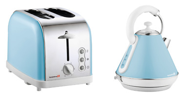 1.8L Cordless Electric Kettle & 2 Two Slice Bread Toaster Kitchen Set Light Blue