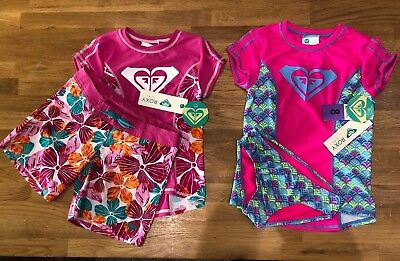 Roxy Girl's UPF 50+ Sun Protection Rash Guard 2 Piece Swimsuit Surf Set