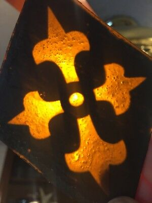 Two ANTIQUE Stained Glass Diamonds