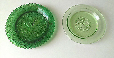 Vintage Dishes Butter Pat GREEN GLASS Mini Plate Flower Leaf Vine Lot of  2