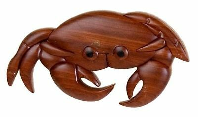 INTARSIA WOOD CRAB MAGNET, handsome handcrafted wood mosaic