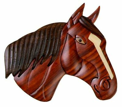 INTARSIA WOOD HORSE HEAD MAGNET, handsome handcrafted wood mosaic